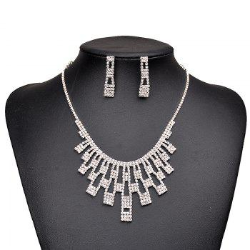 Rhinestone Geometric Necklace with Earring Set - SILVER SILVER