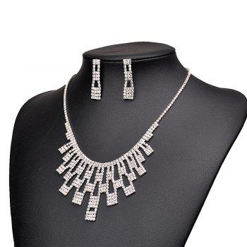 Rhinestone Geometric Necklace with Earring Set -  SILVER