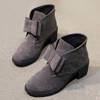 Bowknot Accent Chunky Heel Ankle Boots - GRAY 38