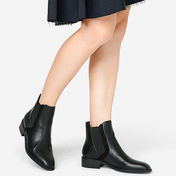 Stacked Heel Chelsea Ankle Boots - BLACK 36