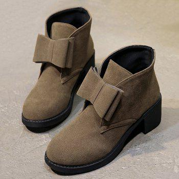 Bowknot Accent Chunky Heel Ankle Boots - BROWN 39