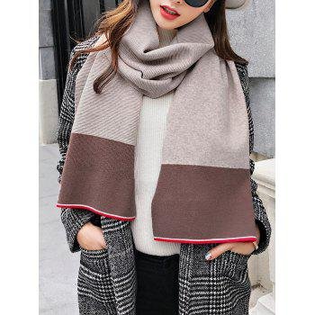 Outdoor Color Splice Pattern Crochet Knitting Blanket Scarf -  BEIGE