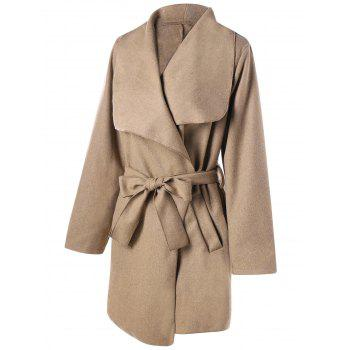 Waterfall Coat and Tie Belt - KHAKI XL