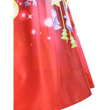 Christmas Moon Star Plus Size Sleeveless Dress - RED RED