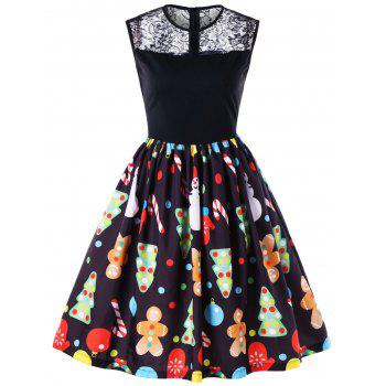 Christmas Print Lace Panel Midi Flare Dress