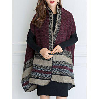Vintage Outdoor Faux Wool Shawl Scarf - WINE RED