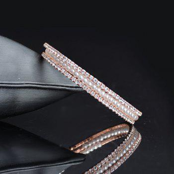 Faux Pearl Rhinestoned Stretchable Bracelet - ROSE GOLD ROSE GOLD