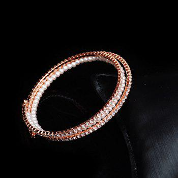 Faux Pearl Rhinestoned Bracelet extensible - Or Rose
