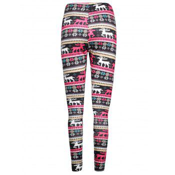Elk Printed Elastic Waist Workout Leggings - COLORMIX M