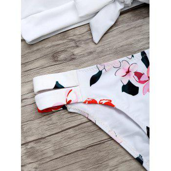 Scoop Neck Flower Print Bikini Set - WHITE S