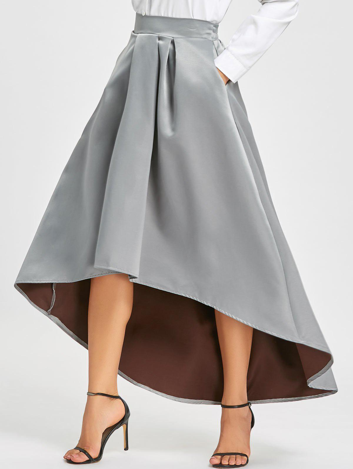 Elastic Waist High Low Maxi Skirt - GRAY M