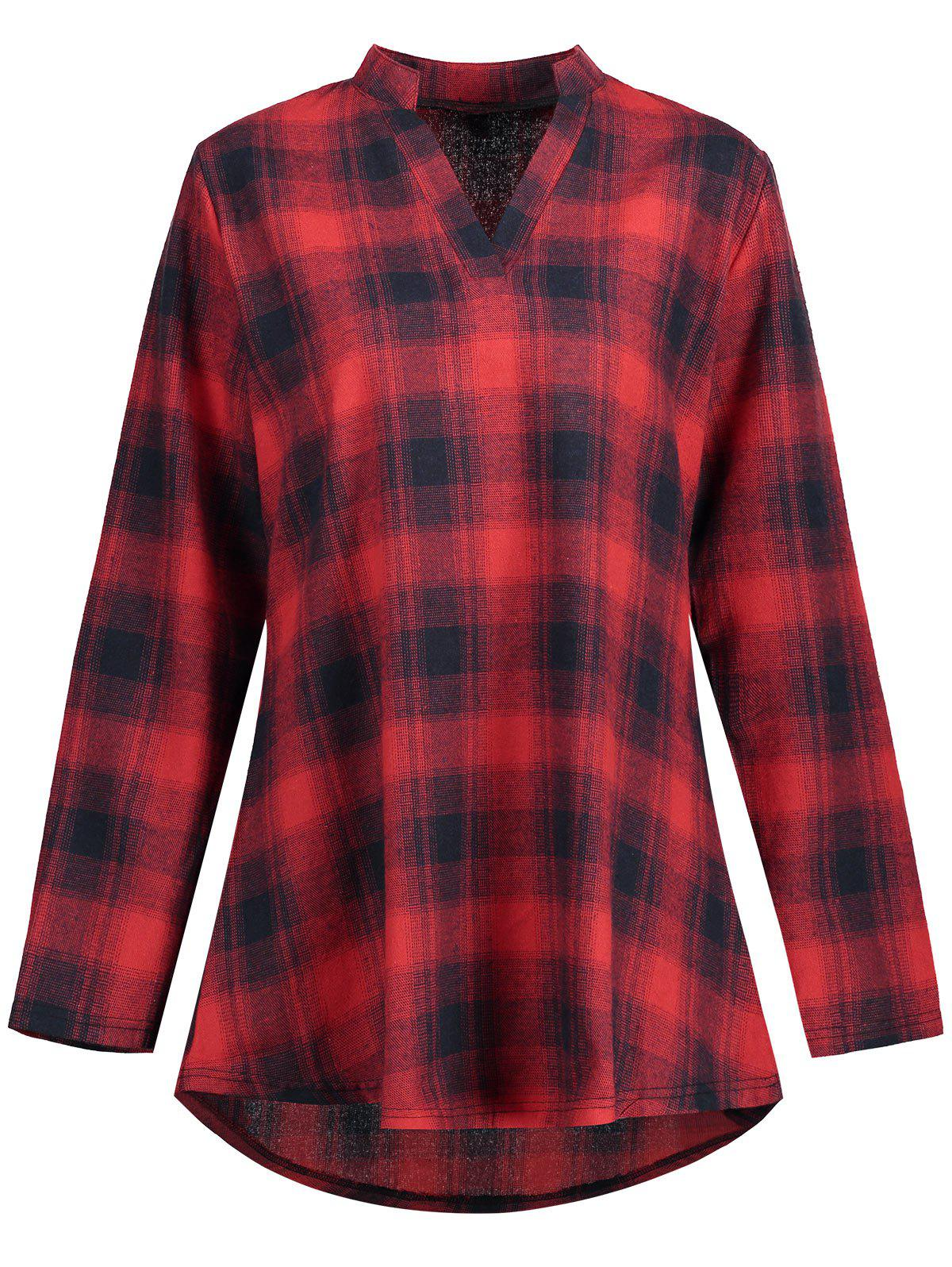 Plus Size High Low Plaid Shirt - RED 2XL