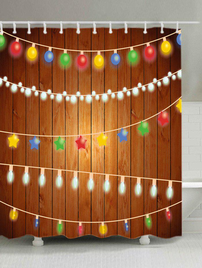 String Lights Christmas Print Waterproof Fabric Shower Curtain - COLORMIX W71 INCH * L79 INCH