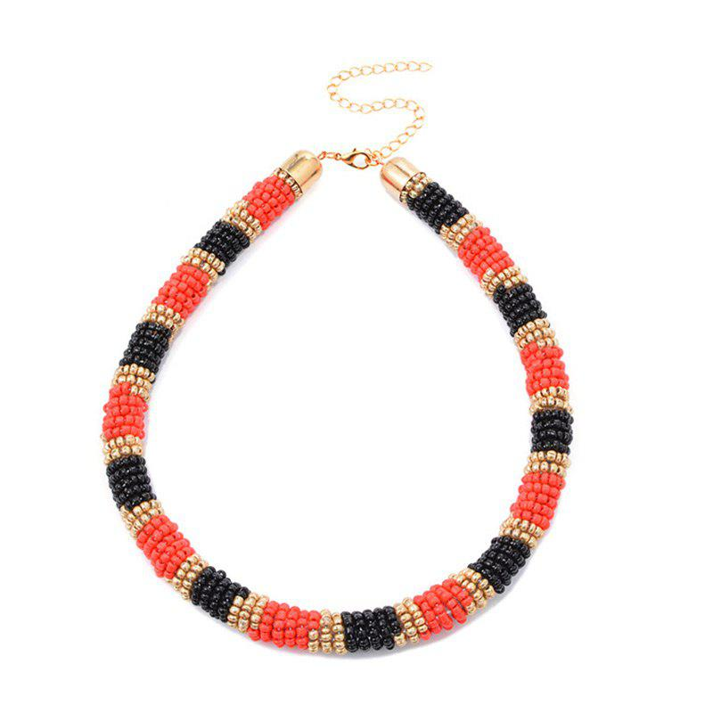 Bohemia Small Beads Choker Necklaces - RED/BLACK