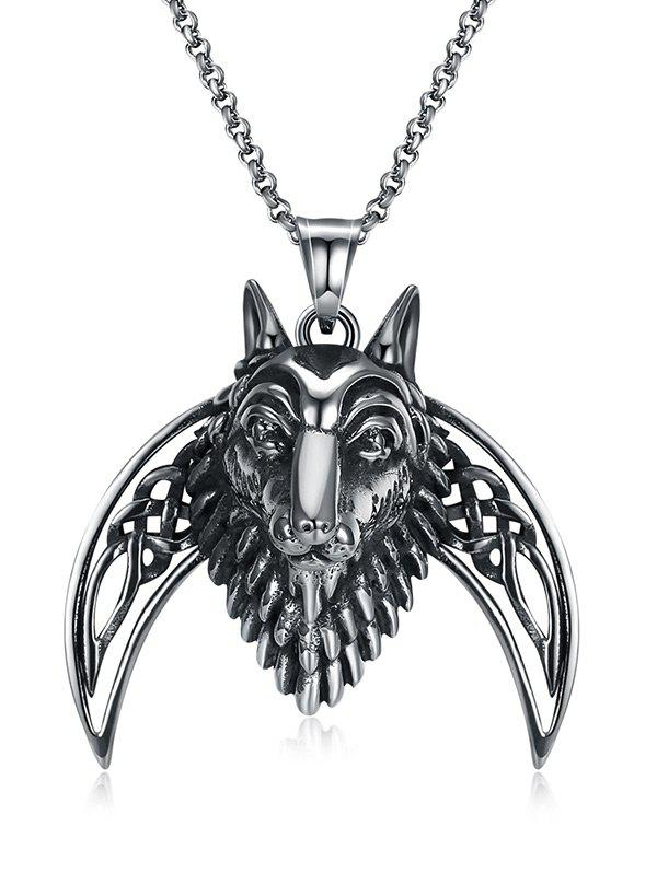 Cool Lion Carving Decorated Stainless Steel Pendant Necklace - BLACK