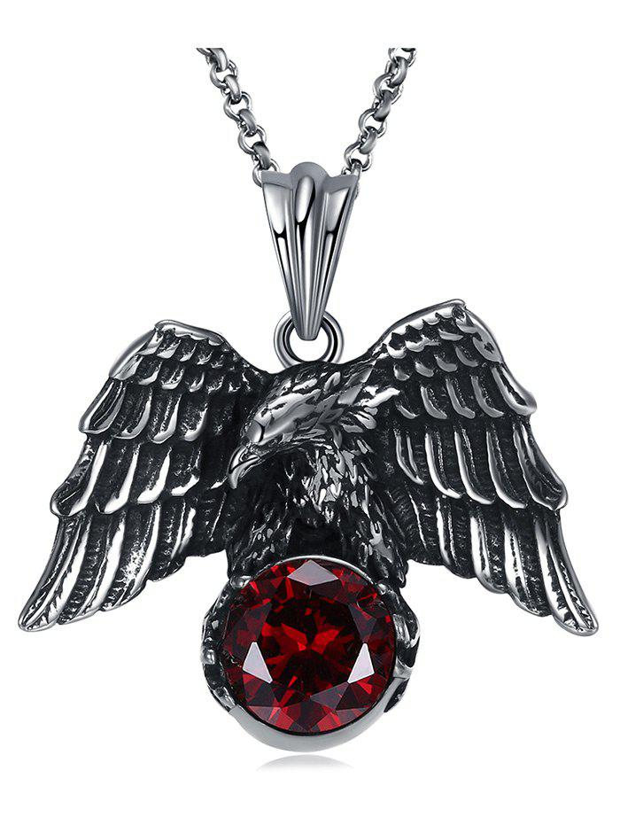 Carved Eagle Decorated Faux Gem Stainless Steel Pendant Necklace - RED