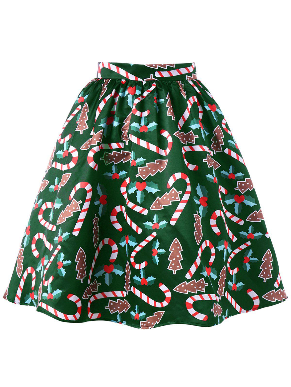 Graphic Christmas Flare Skirt - GREEN L