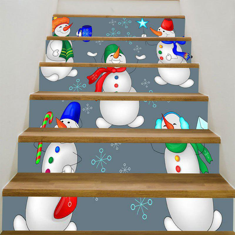 Decorative Christmas Snowman Candy Printed Stair Stickers - COLORFUL 6PCS:39*7 INCH( NO FRAME )