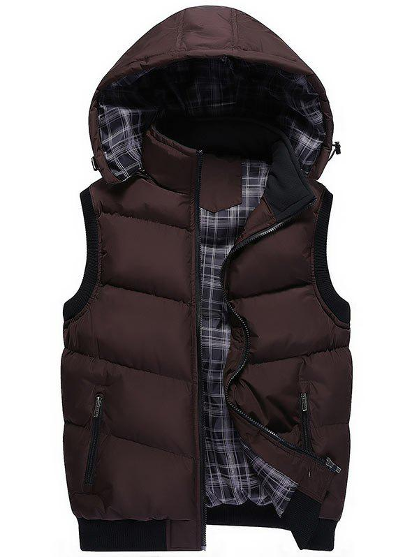 Detachable Hood Zipper Up Wadded Vest - COFFEE 2XL
