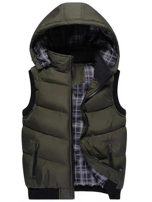 Detachable Hood Zipper Up Wadded Vest - OLIVE GREEN XL