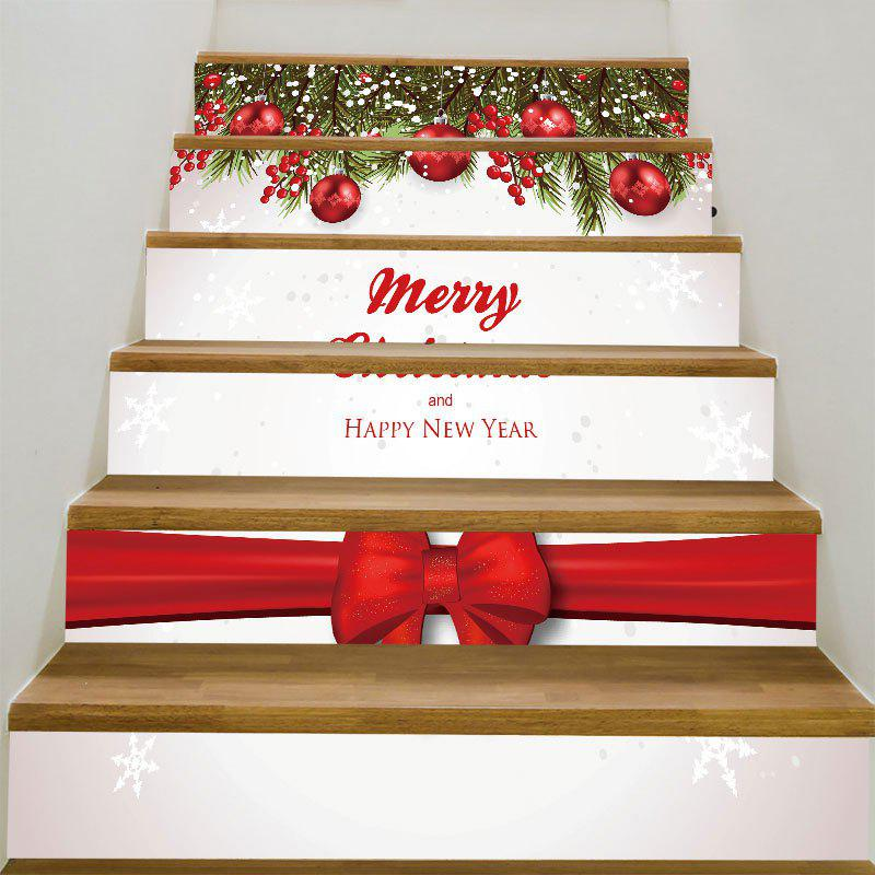 Merry Christmas Bowknot Pattern Decorative Stair Stickers merry christmas santa claus pattern stair stickers
