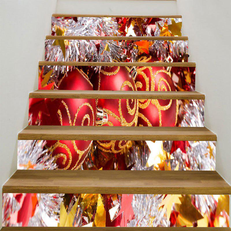Christmas Balls Printed DIY Decorative Stair Stickers - COLORFUL 6PCS:39*7 INCH( NO FRAME )
