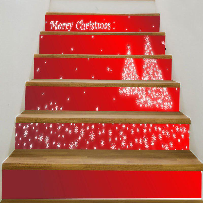 Home Decor Christmas Snowflake Tree Printed Stair Stickers - RED 6PCS:39*7 INCH( NO FRAME )