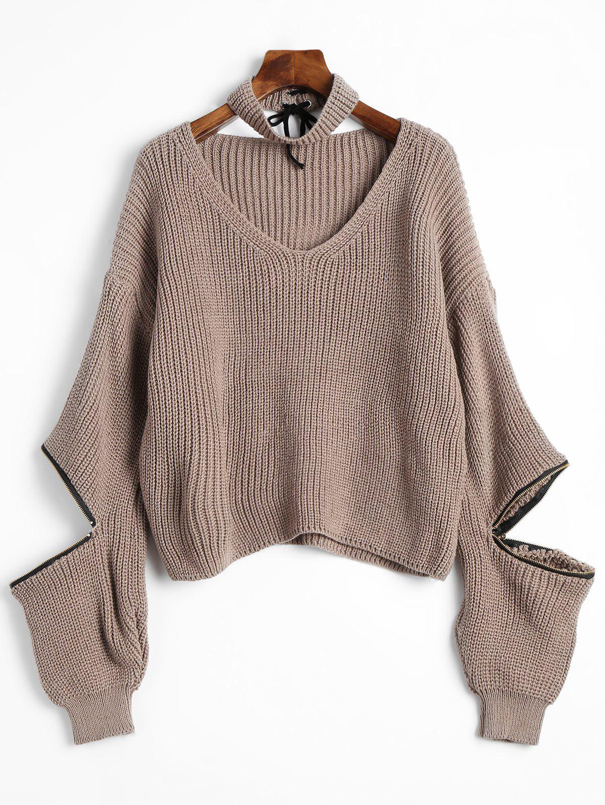 Zip Embellished V Neck Sweater with Choker - KHAKI ONE SIZE