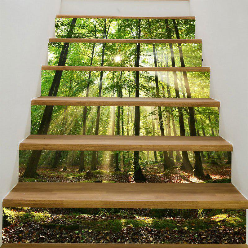 6Pcs Sunlight Forest Printed Stairway Stickers - GREEN 6PCS:39*7 INCH( NO FRAME )