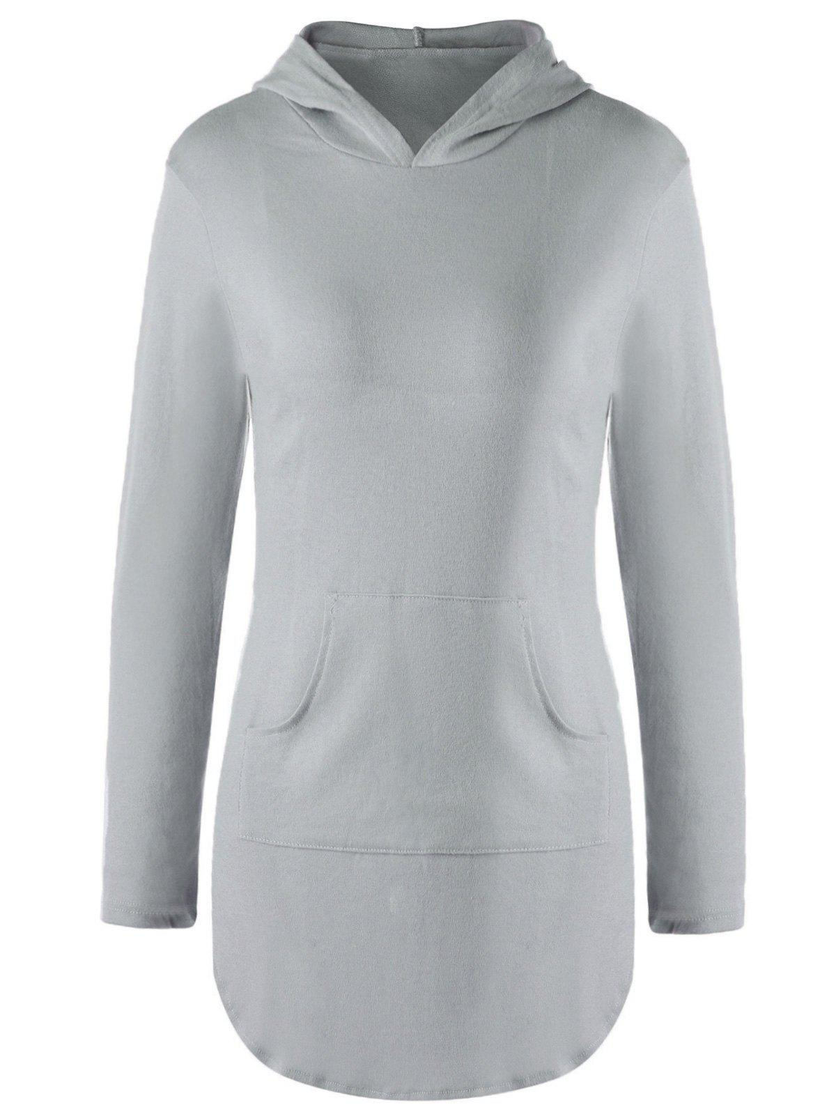 Stylish Solid Color Pocket Design Hooded Long Sleeve T-Shirt For Women - GRAY M