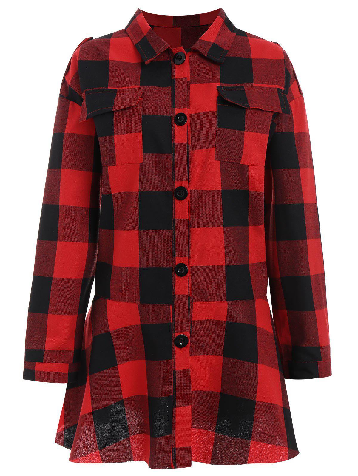 Plus Size Pocket Plaid Drop Waist Shirt plus size plain drop shoulder hoodie with pocket