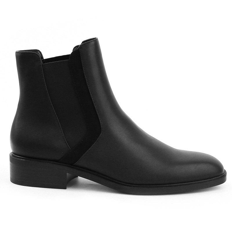 Stacked Heel Chelsea Ankle Boots - BLACK 40