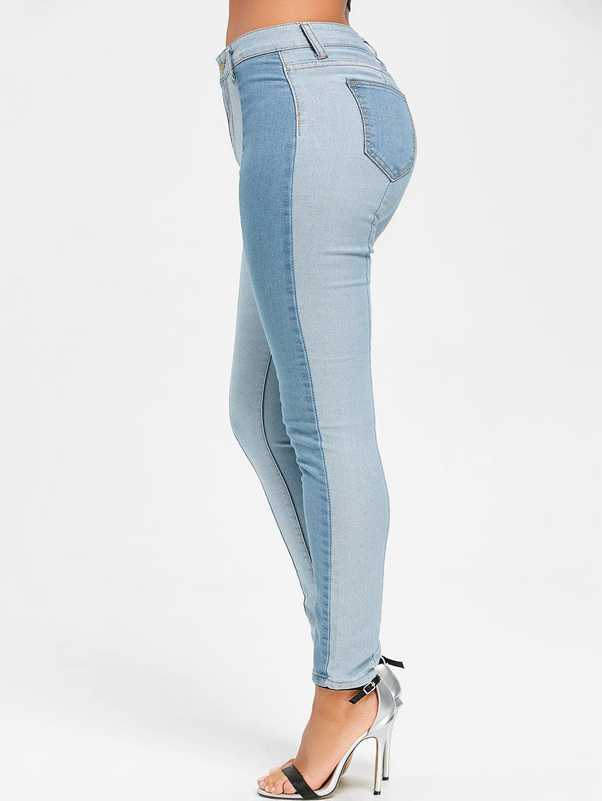 Skinny Two Tone Color Denim Jeans - CLOUDY XL