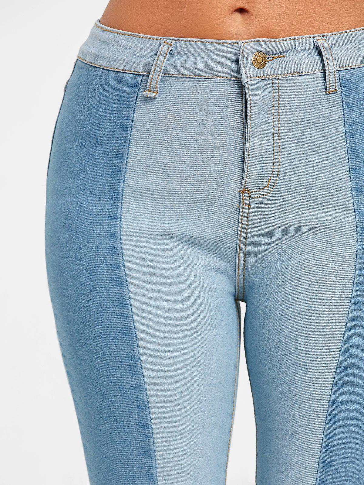 Skinny Two Tone Color Denim Jeans - CLOUDY L