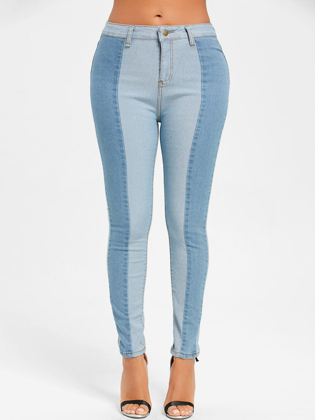 Skinny Two Tone Color Denim Jeans - CLOUDY S