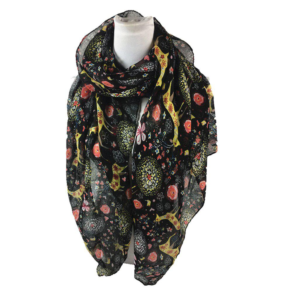 Soft Christmas Deer and Floral Decorated Long Scarf - BLACK