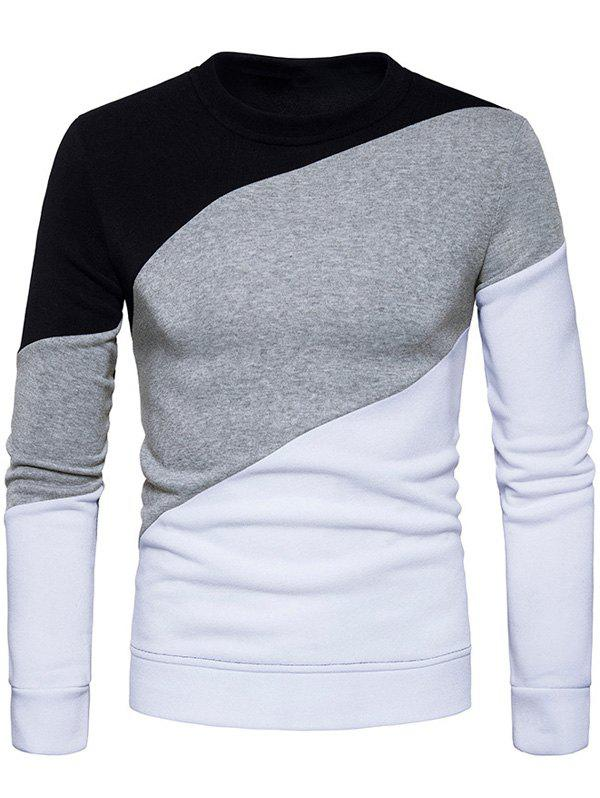 Fleeve Color Block Pullover Sweatshirt - WHITE M