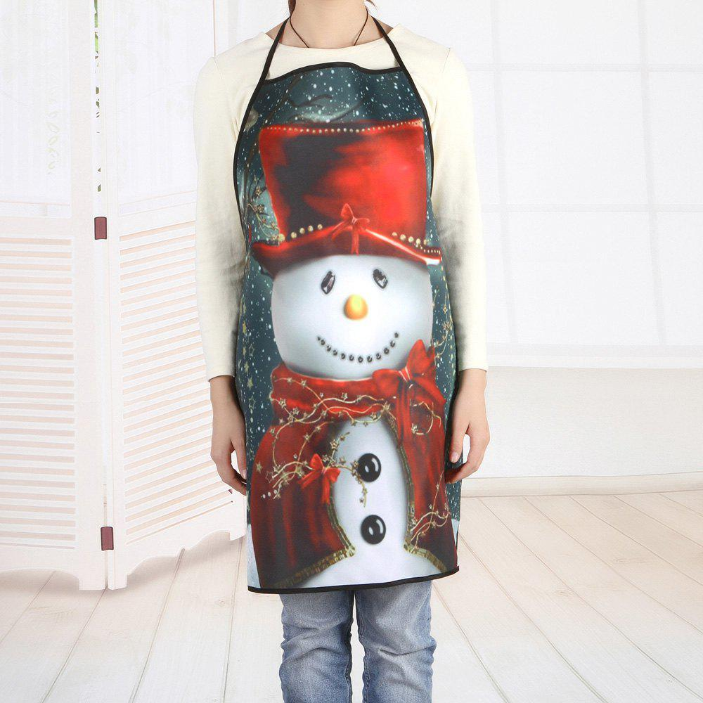 Tablier de Noël bonhomme de neige impression tablier - multicolorcolore 80*70CM