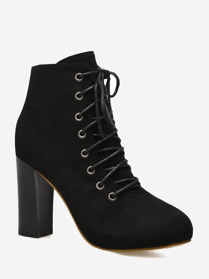 High Heel Lace Up Boots - BLACK 37