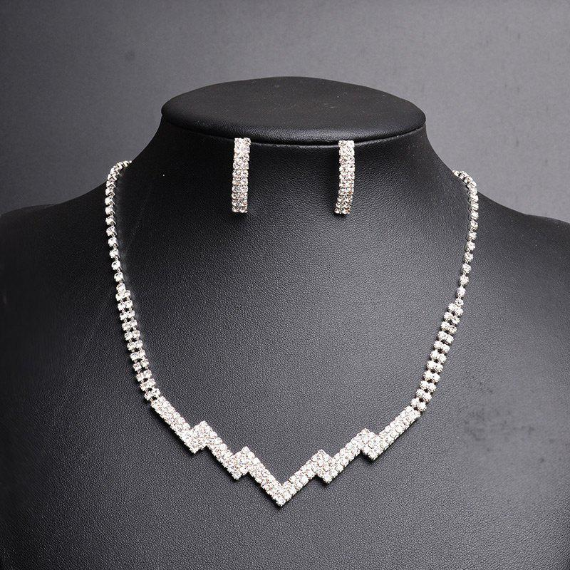 Rhinestoned Zig Zag Necklace and Earring Set - SILVER
