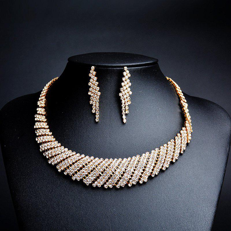 Sparkly Rhinestone Necklace and Earring Set - GOLDEN