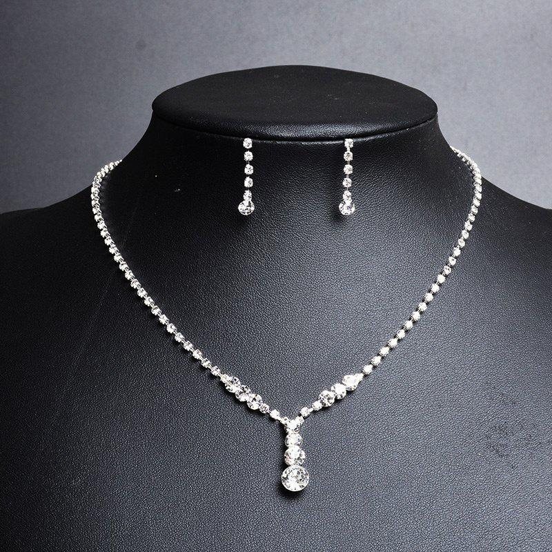 Rhinestoned Teardrop Necklace and Earring Set - SILVER