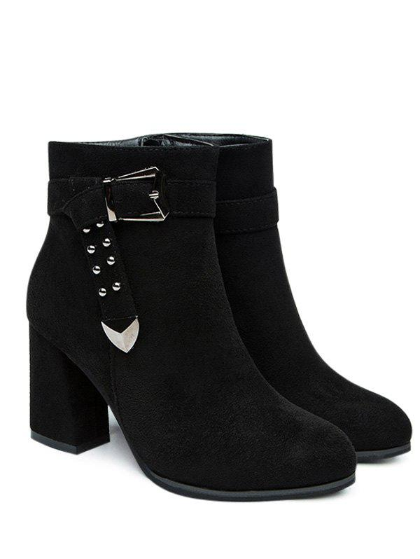 Studs Buckle Strap Side Zipper Ankle Boots