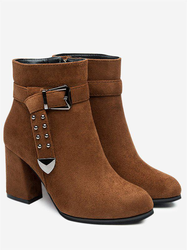 Studs Buckle Strap Side Zipper Ankle Boots - DEEP BROWN 35
