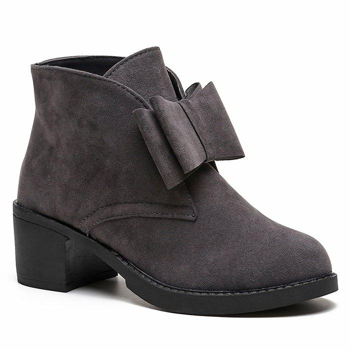 Bowknot Accent Chunky Heel Ankle Boots - GRAY 39