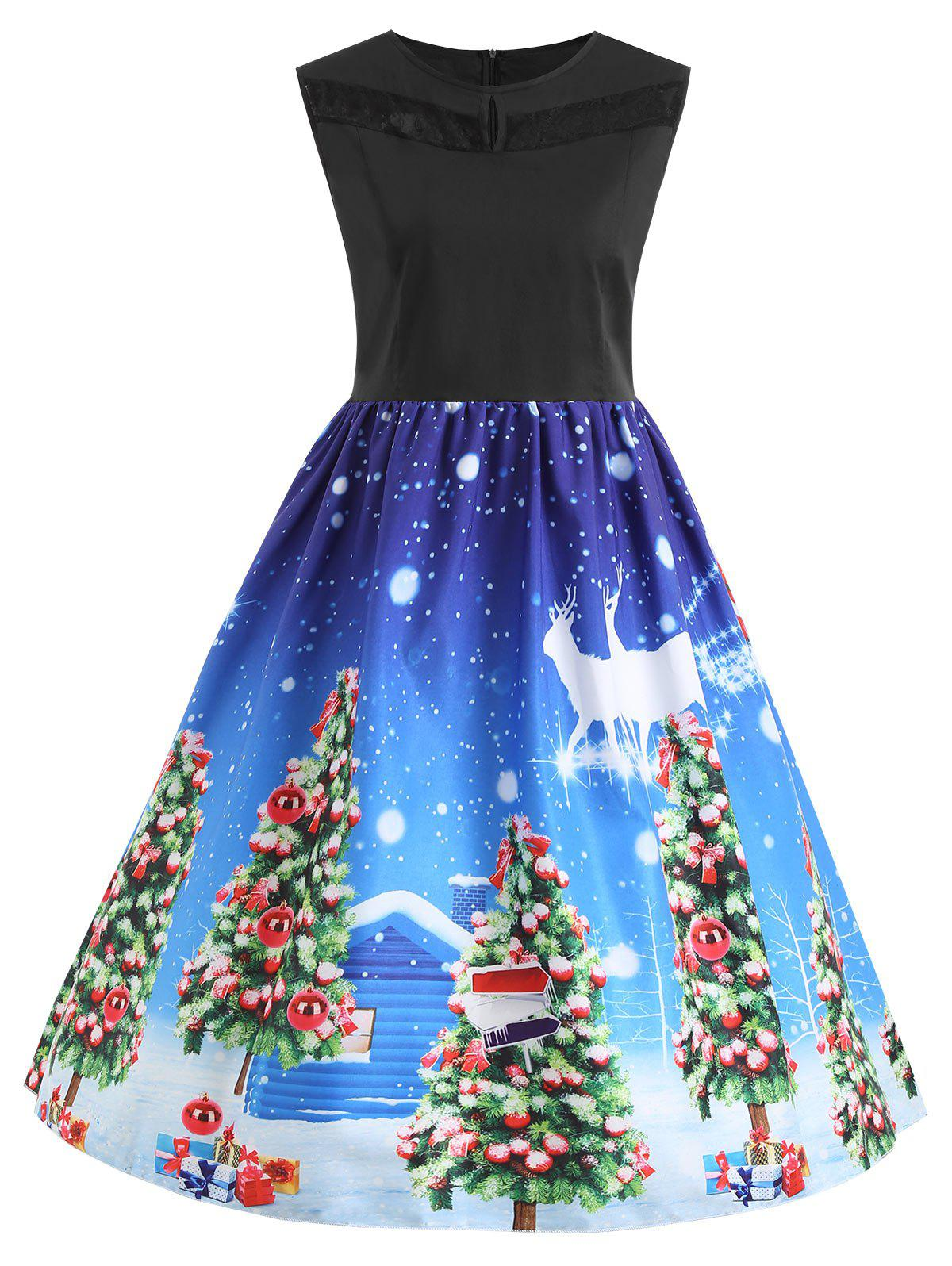 Plus Size Christmas Tree Lace Panel Vintage Dress - BLUE 4XL