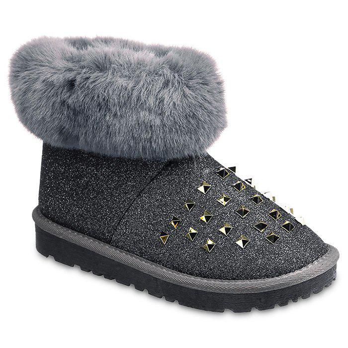 Glitter Rivets Fur Snow Boots club brand australia women boots sheepskin leather snow boots 100% natural fur snow boots warm wool winter boots botas mujer