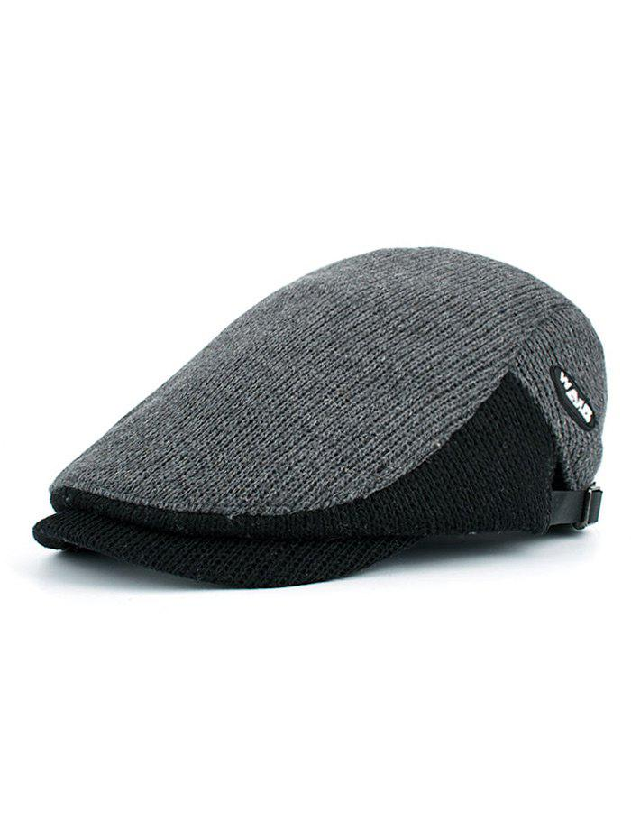 Outdoor Letter Label Embellished Adjustable Newsboy Hat - GRAY