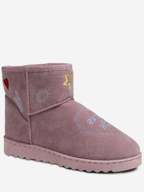 Stitching Patchwork Snow Boots - PINK 40