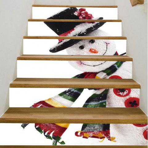 Christmas Snowman Pattern Stair Stickers - COLORMIX 100*18CM*6PCS